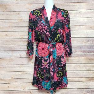 Josie Natori Pink Print Robe, S, Robes, Wrap Dress